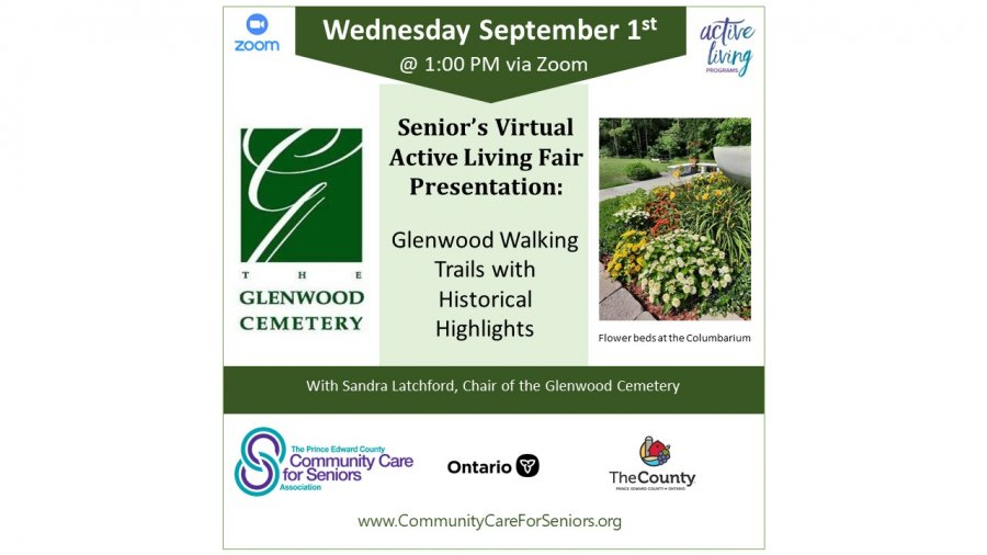 """SENIORS' VIRTUAL FAIR - """"Glenwood Walking Trails with Historical Highlights"""" with Sandra Latchford, Chair of the Glenwood Cemetery"""