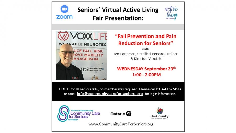 """SENIORS' VIRTUAL FAIR - """"Fall Prevention and Pain Reduction for Seniors"""" with Ted Patterson, Certified Personal Trainer and Director, VoxxLife"""